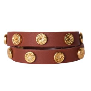 Picture of Cognac Leather Wrap with Gold Studs